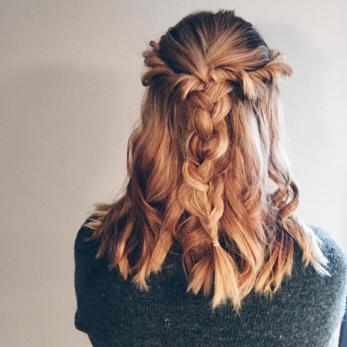 Creative Braiding over Curly Hair