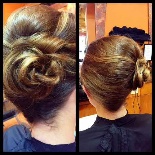 Side French Twist with a Flower