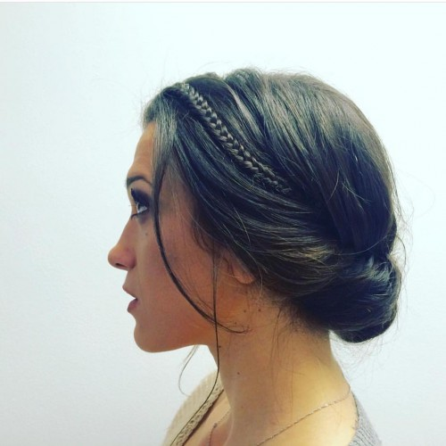 Simple Braided and Tucked Chignon