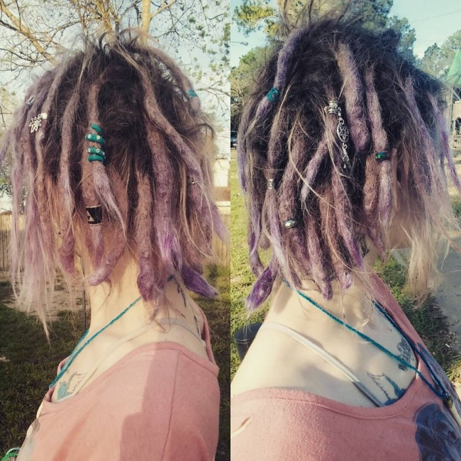 Accessorized Splashy Violet Dreads
