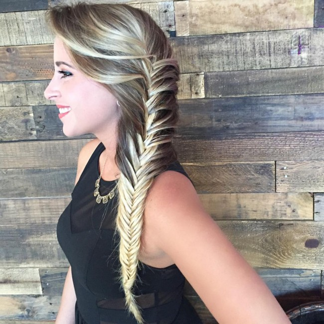Glamorous Fishtail Side Braid