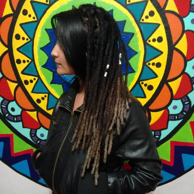 Natural Hair Intertwined With Dreadlocks