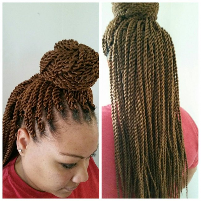 Top Knot with Hanging Long Twists