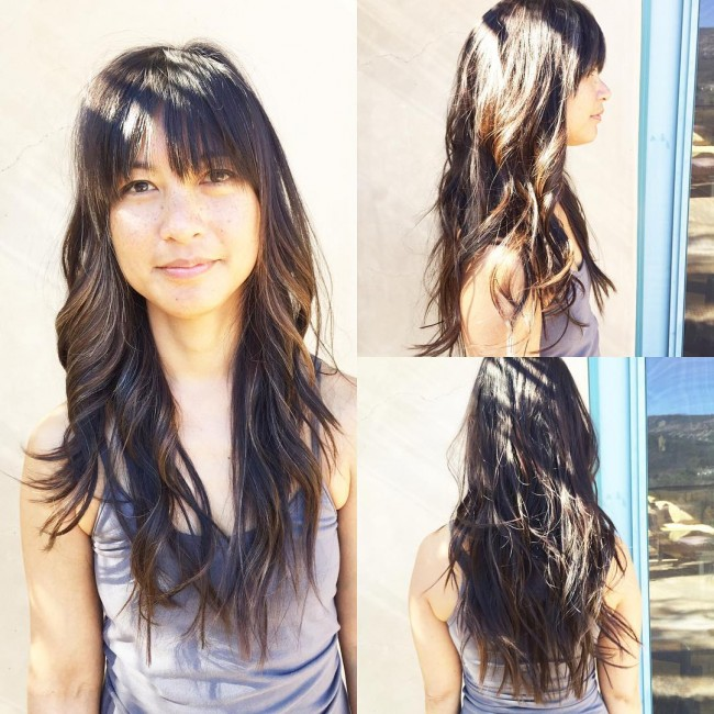 Beach Waves with Thin Bangs