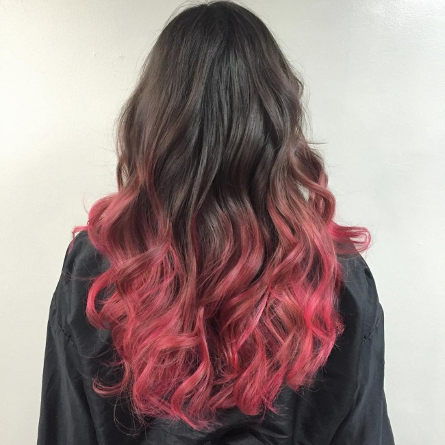 Black to Dusty Pink Ombre Balayage