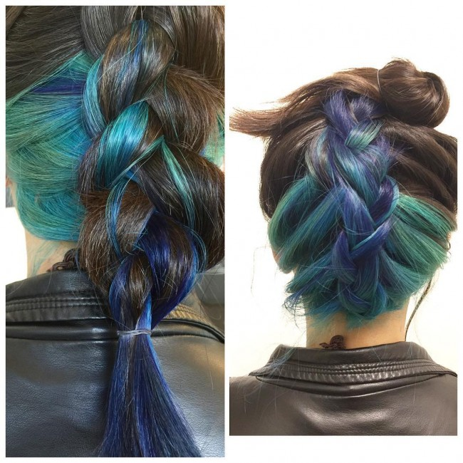 Blue Reverse Braid Updo