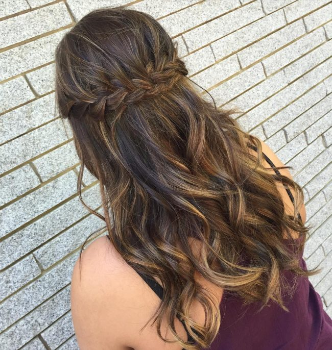 Braided Prom Updo with Caramel Streaks