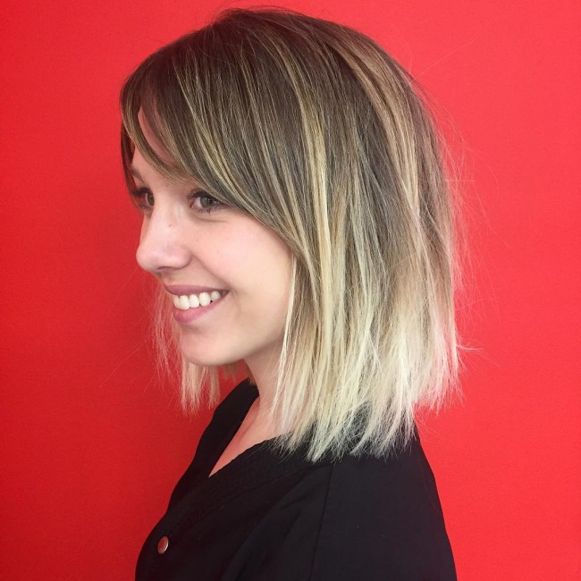 Brown to Blonde Ombre Layered Bob