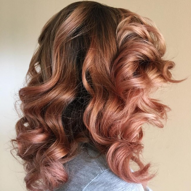 Brunette Curls with Gold Rose Highlights