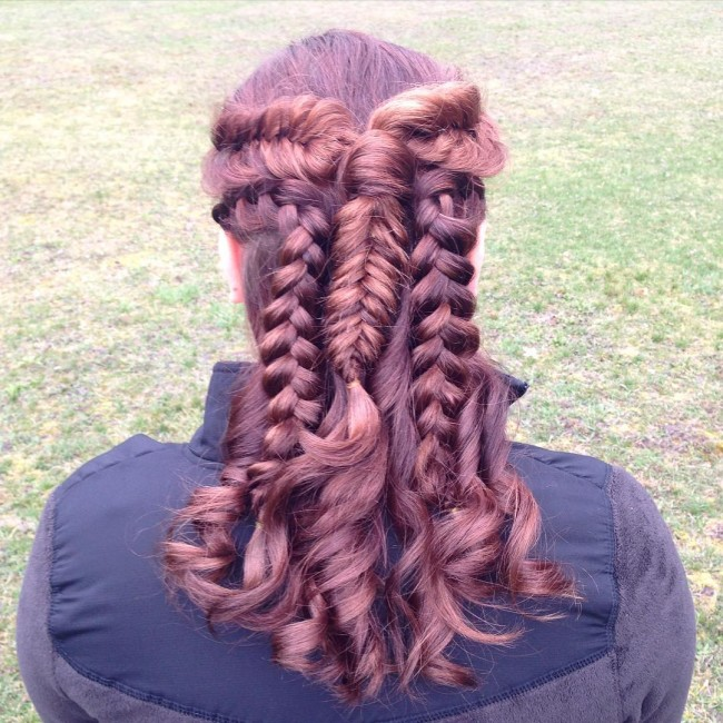 Burgundy Ponytail Braids