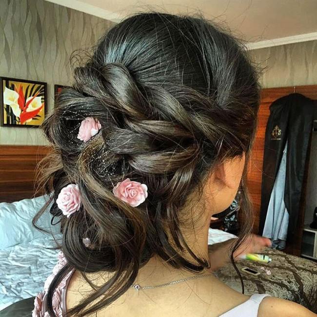 Classy Chignon with Floral Pins