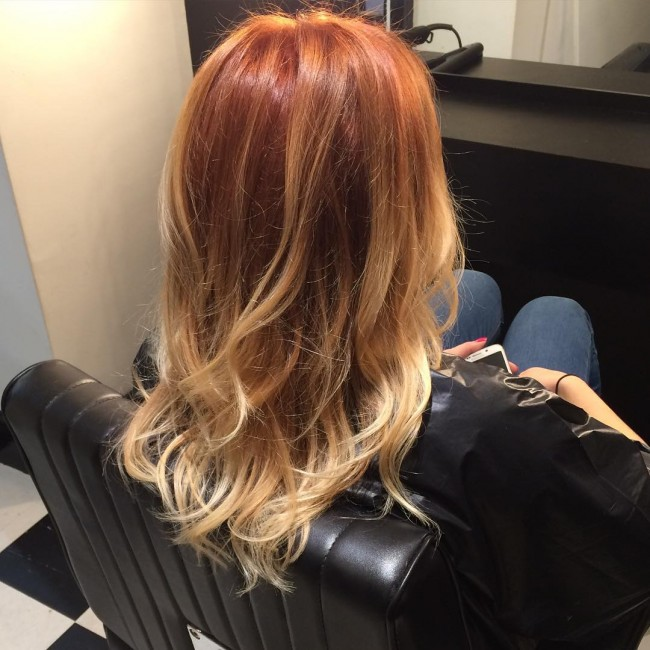 Copper Orange Messy Curls