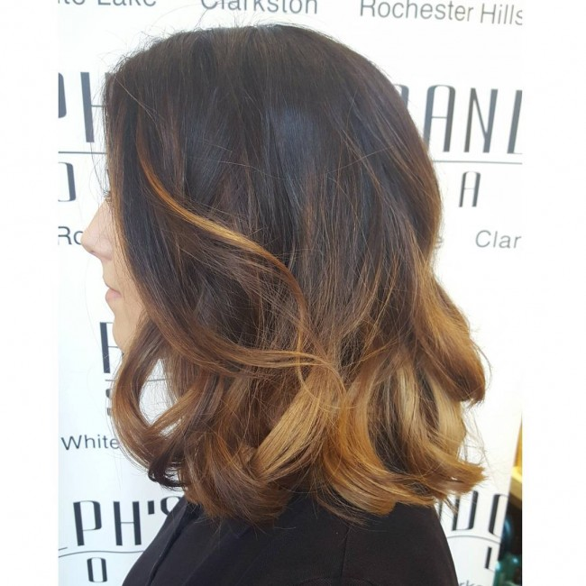 Dark Shaded Ombre with Golden Lowlights