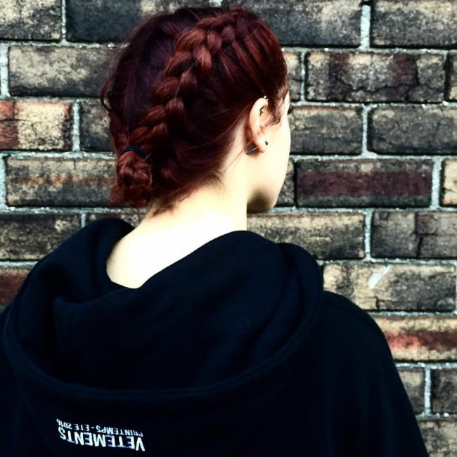 Deep Red French Braids