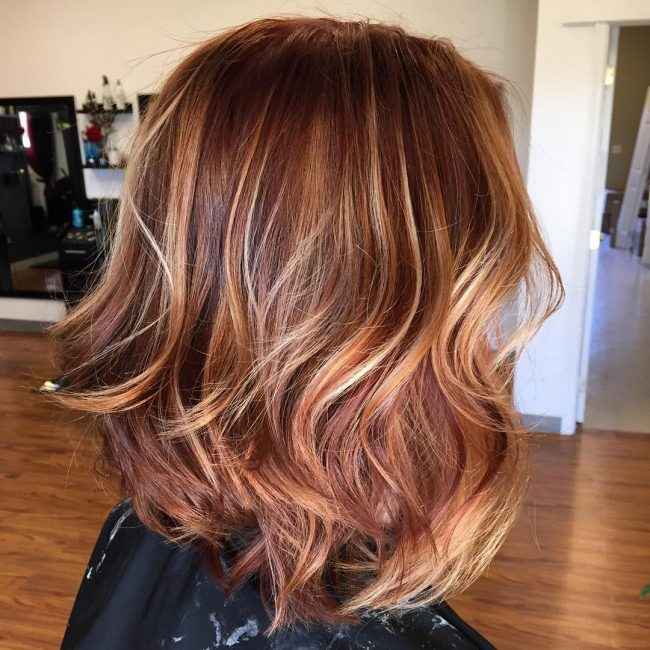 Deep Rose Gold with Caramel Lowlights