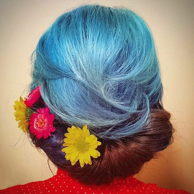 Floral Rolled Updo