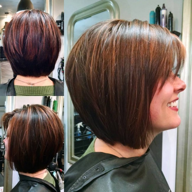 Fun Mahogany Bob with Copper Highlights