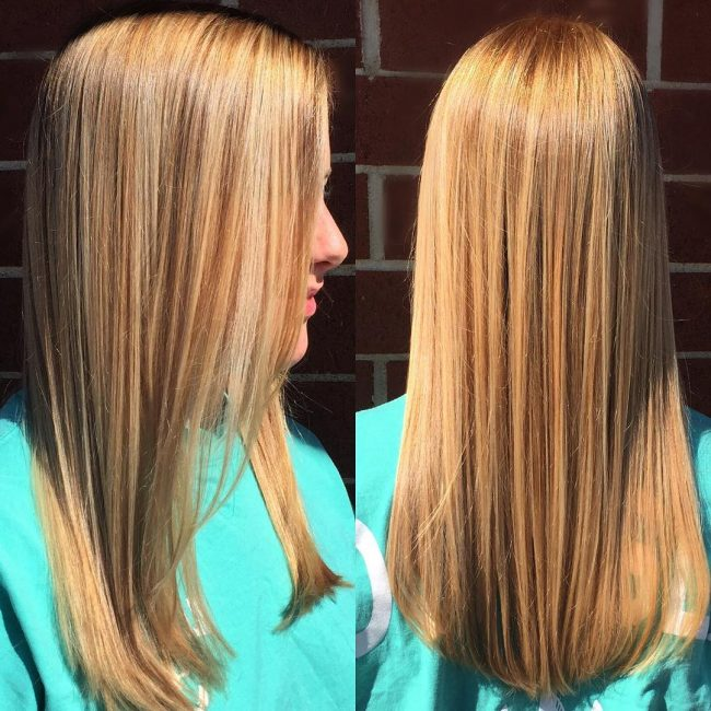 Golden Strawberry Blonde With Chunky Auburn Highlights