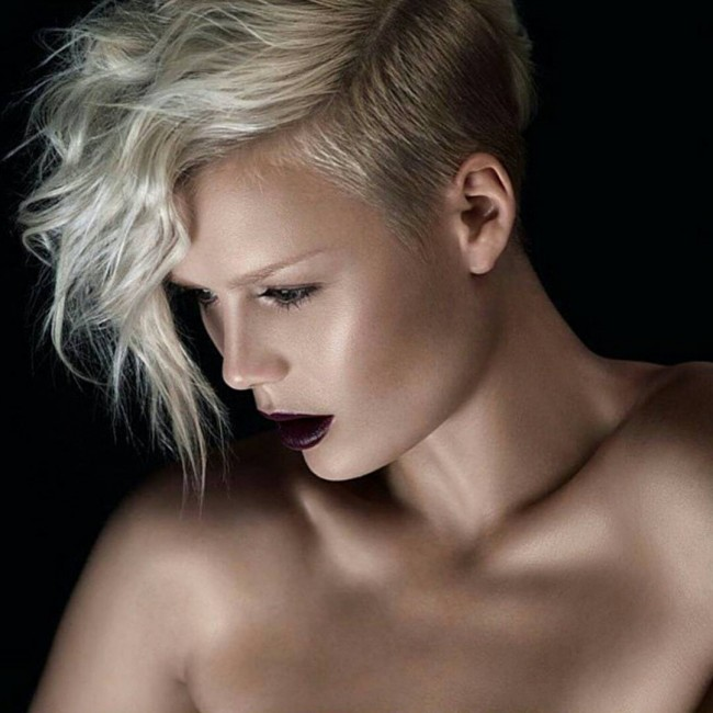 Light Blonde Pixie with Shaved Side