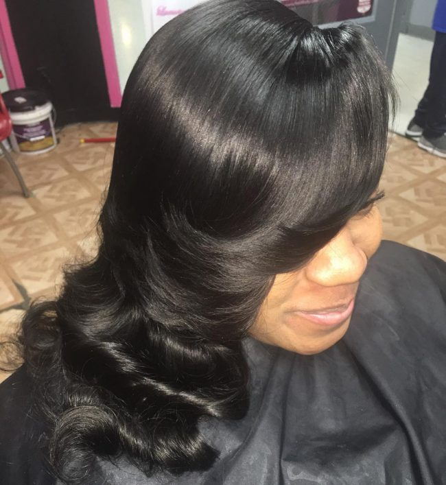 Long Black Layered Sew-In With Side Part