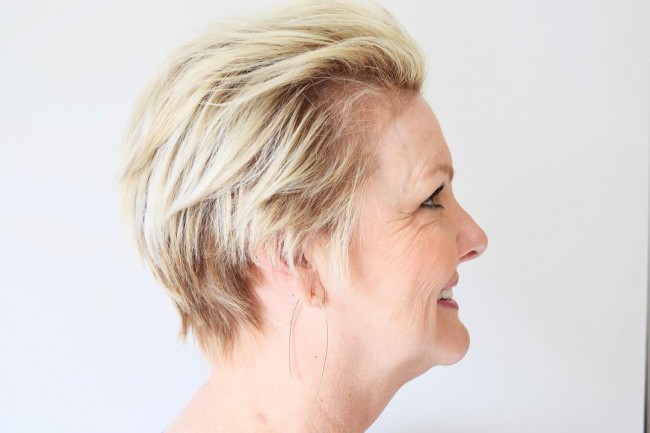 Long Pixie Cut with Brushed Back Bangs