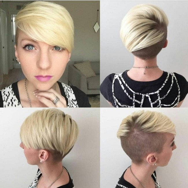 Long Pixie Cut with Shaved Sides and Back