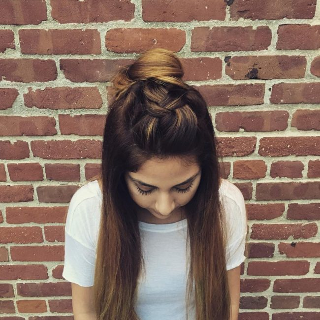 Loose Dutch Braid with a Teased Bun