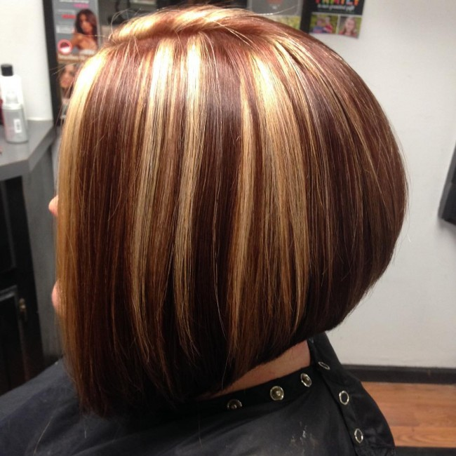 Lowlights on an Angled Bob