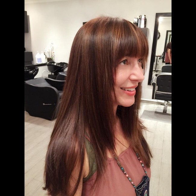 Neat Bangs with Lowlights