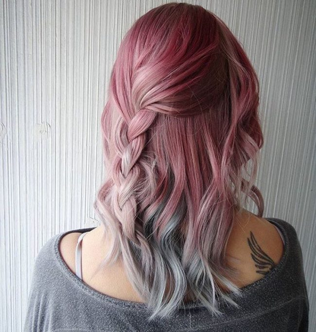 Pink with Greyish Blue Ombre