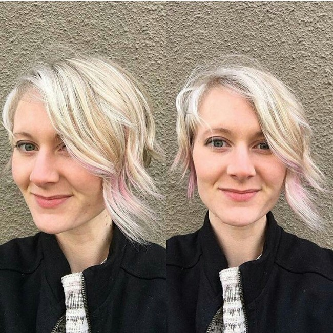 Platinum Blonde Locks with a Hint of Pink