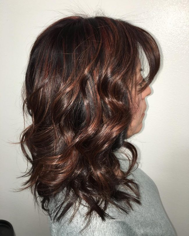 Razor Cut and Textured Red Brown Hair