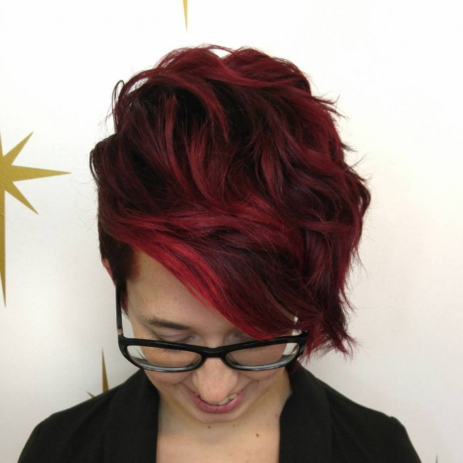 Red Highlights on a Pixie Cut