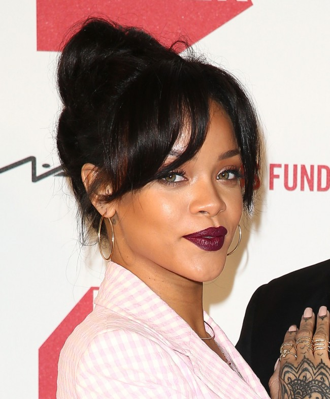 Rihanna Loose Bun with a Lovely Fringe