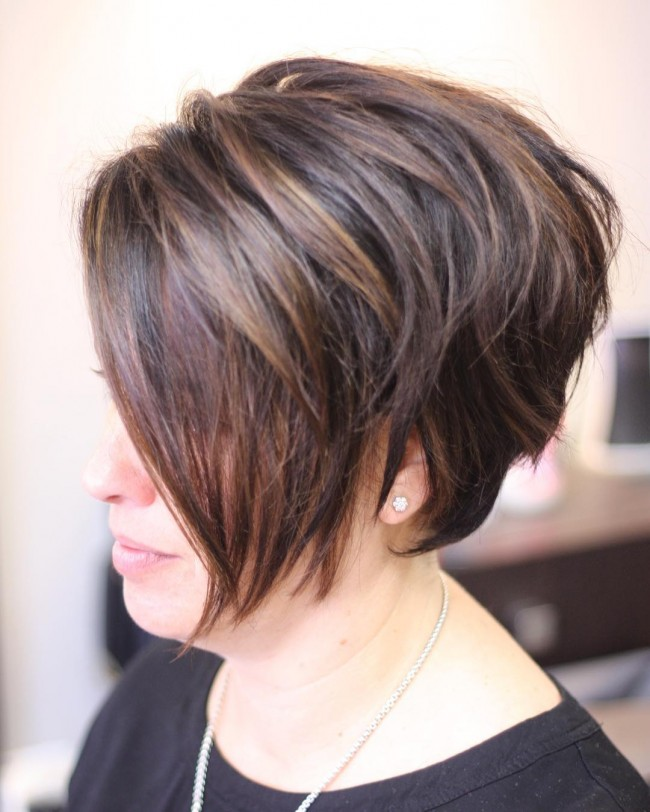 Short Highlighted and Layered Bob