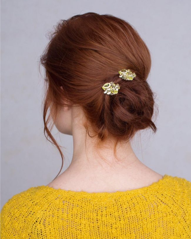 Simple Twisted Updo with Cute Pins