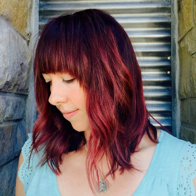 Textured Bob with a Pop of Red and Violet