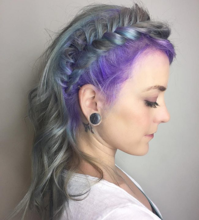 Violet Melted with Silver Fishtail Braid