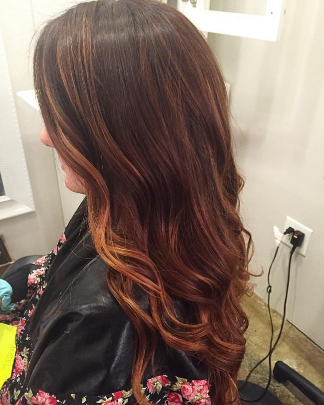 Warm Copper with Soft Reddish Brown Roots
