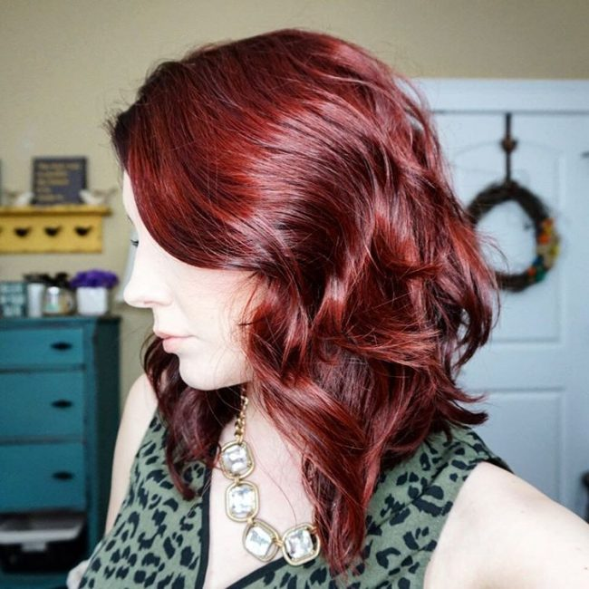 Angled Burgundy Locks