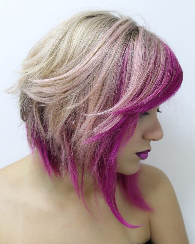 Angular Bangs with Pink Partial Streaks