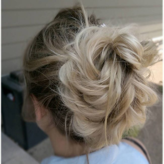 Ash Blonde Ombré for Loose Updo Bun