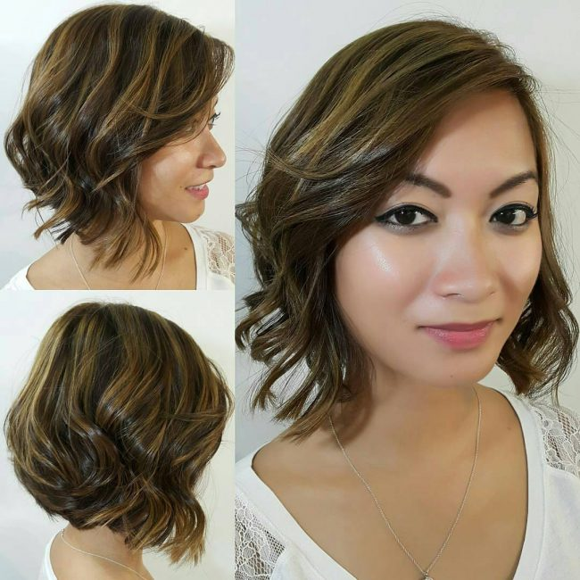 Asymmetrical Bob with Ash Blonde Streaks
