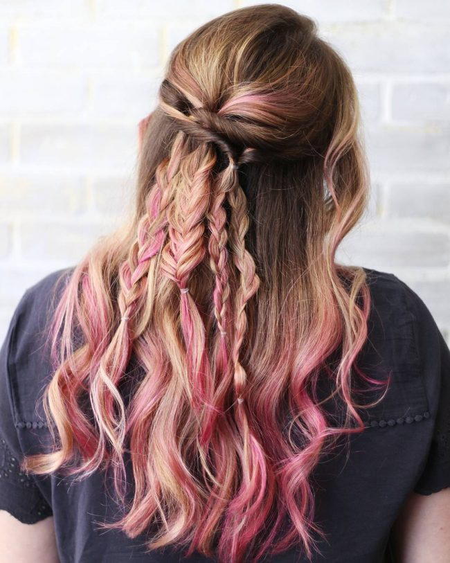 Blonde Balayage with Partial Pink Streaks