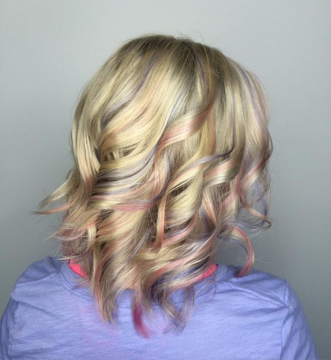 Blonde Curls with a Hint of Pink