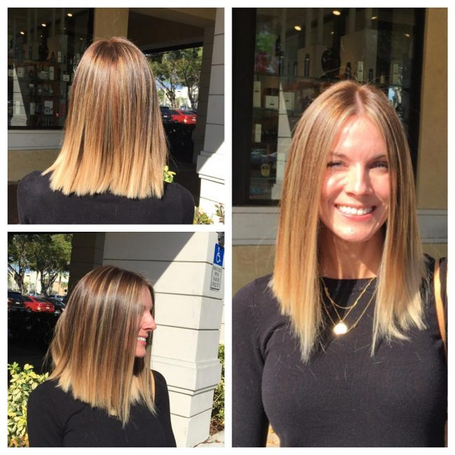 Blunt Locks with Balayage Ombre
