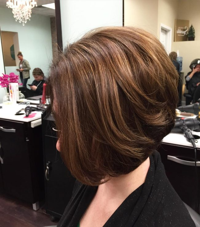 Brunette Lob with Dark Toned Roots