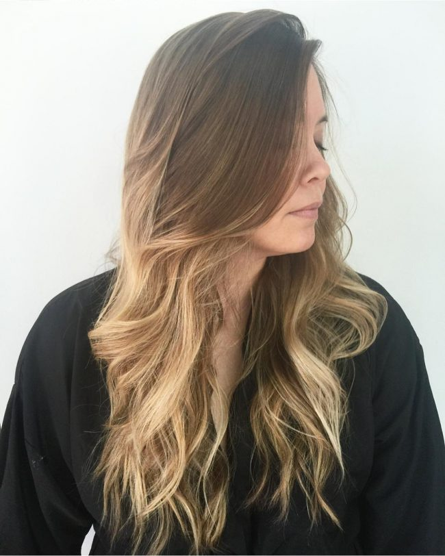 Brunette to Blonde Ombre Waves