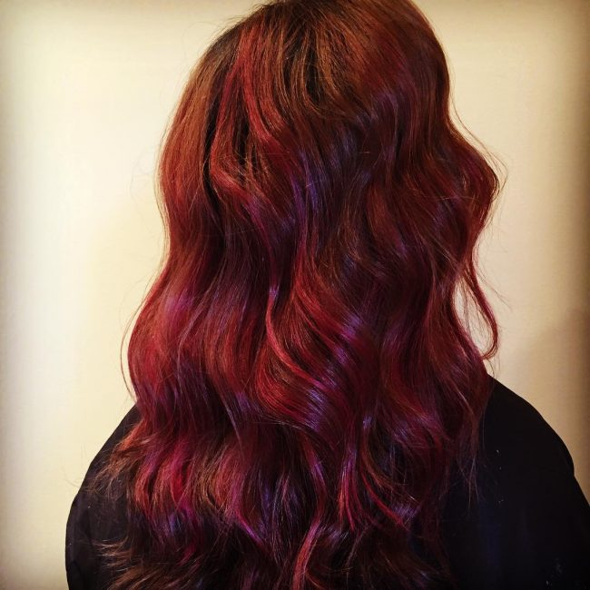 Burgundy Waves with Red Streaks
