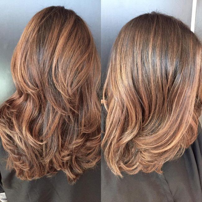 Caramel and Copper Balayage Color Melt